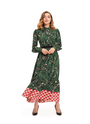 Mizalle Eteği Desenli Uzun Elbise Yeşil